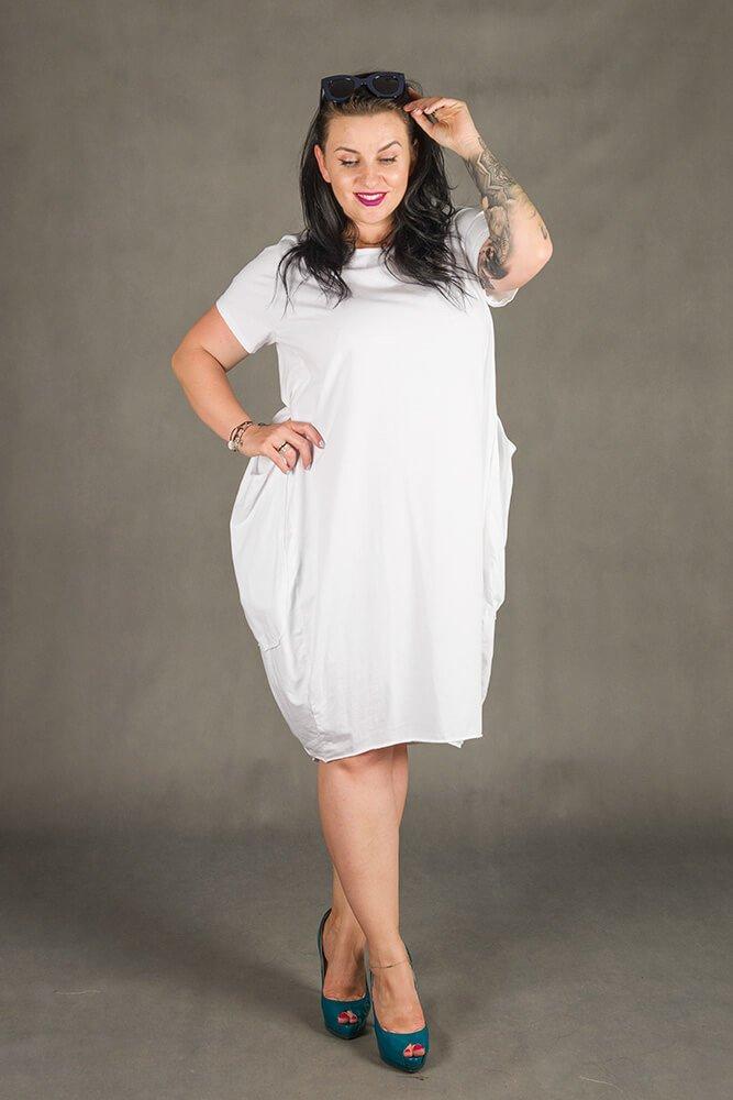 Biała Sukienka GALOPPE Plus Size