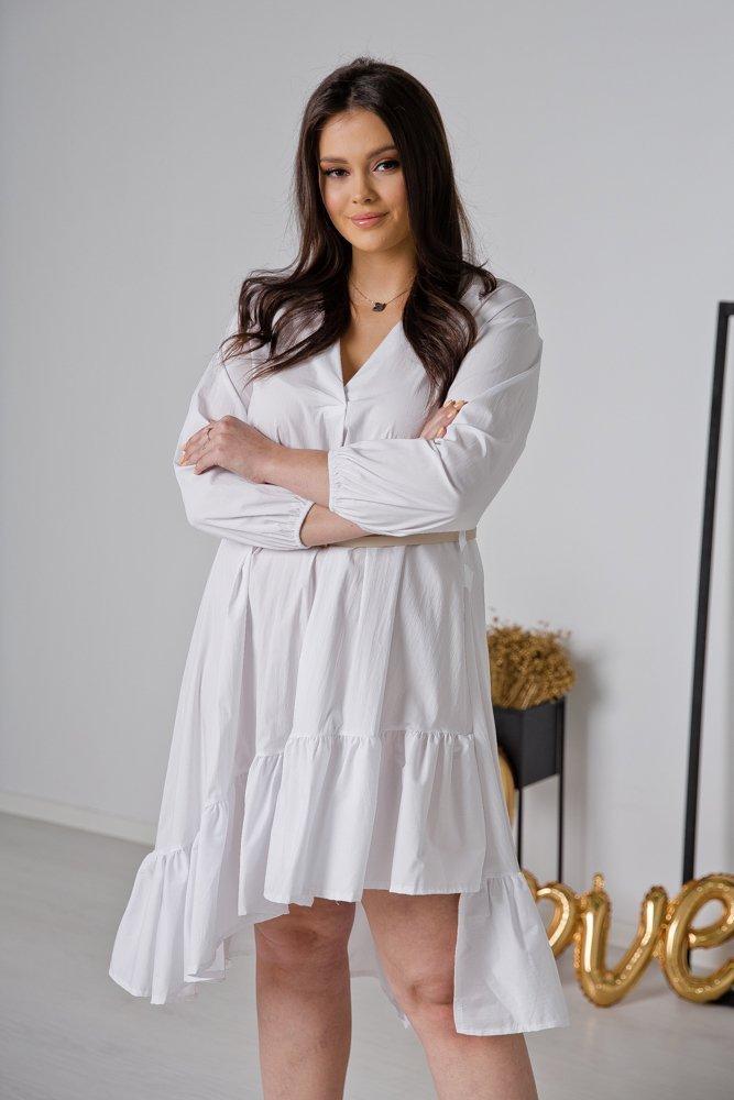 Biała Sukienka LORA Plus Size