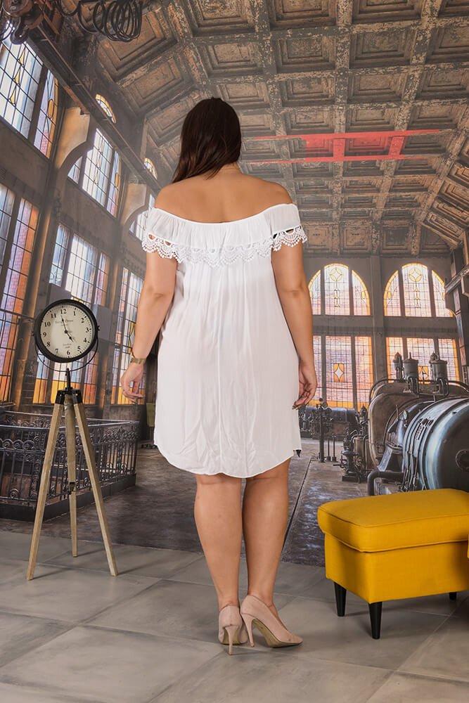 Biała Sukienka NEBBIA Haft Plus Size