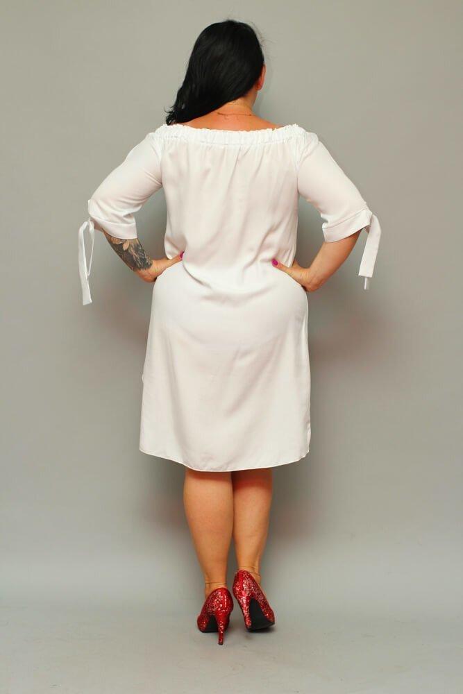 Biała Sukienka VALENCIA Hiszpanka Plus Size