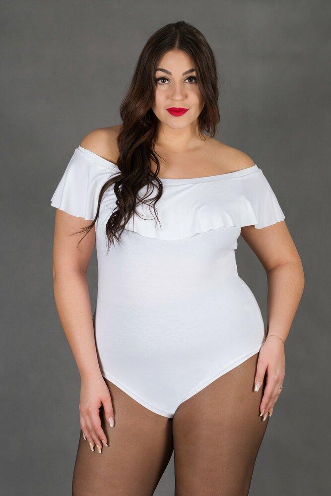 Białe Body damskie Hiszpanka TOPAZ Plus Size