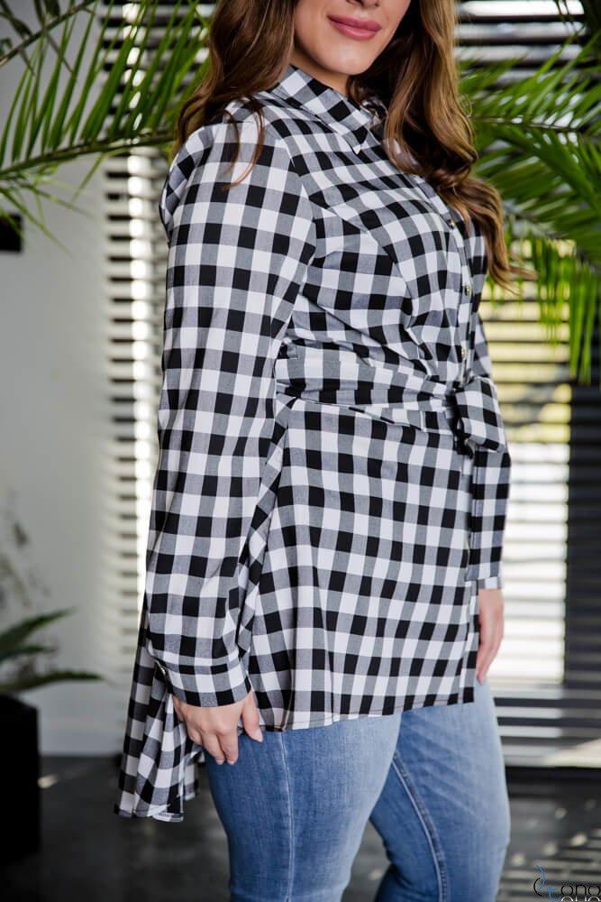 Biało-czarna Koszula damska LANICA Plus Size