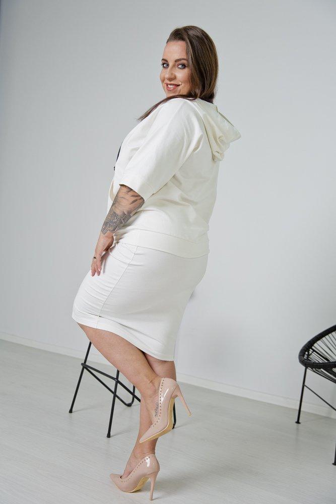 Biały Komplet Dresowy JENNA Plus Size