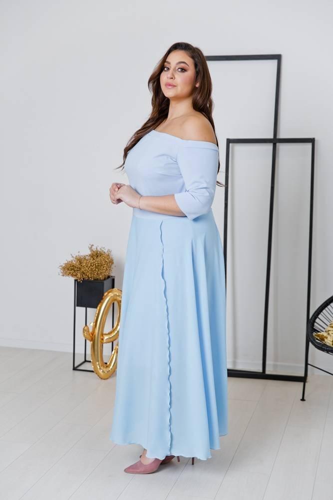 Błękitna Sukienka FAVERA Plus Size
