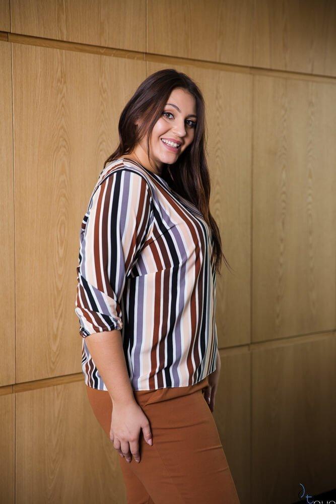 Bluzka damska CAMINA Pasy Plus Size wzór 1