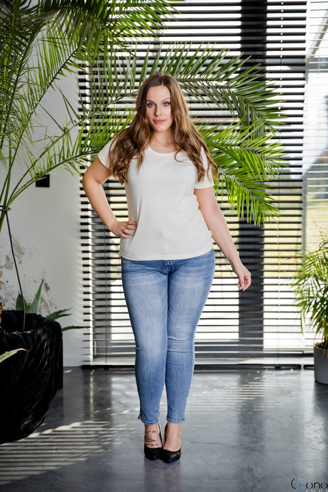 Bluzka damska Ecru DETRRA T-Shirt Plus Size