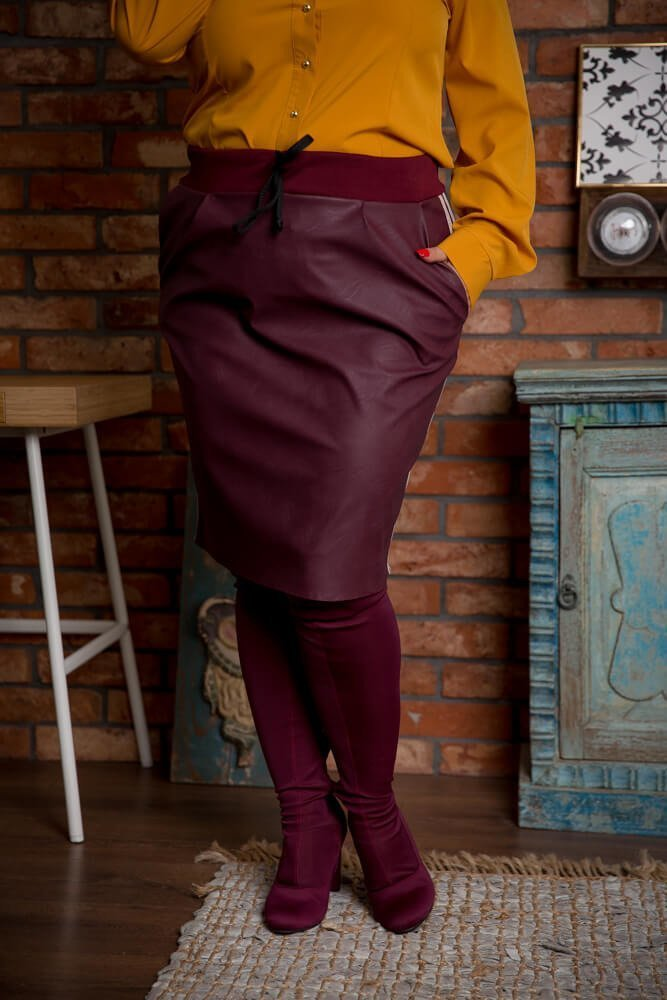 Bordowa Spódnica KENDY Lampas Plus Size