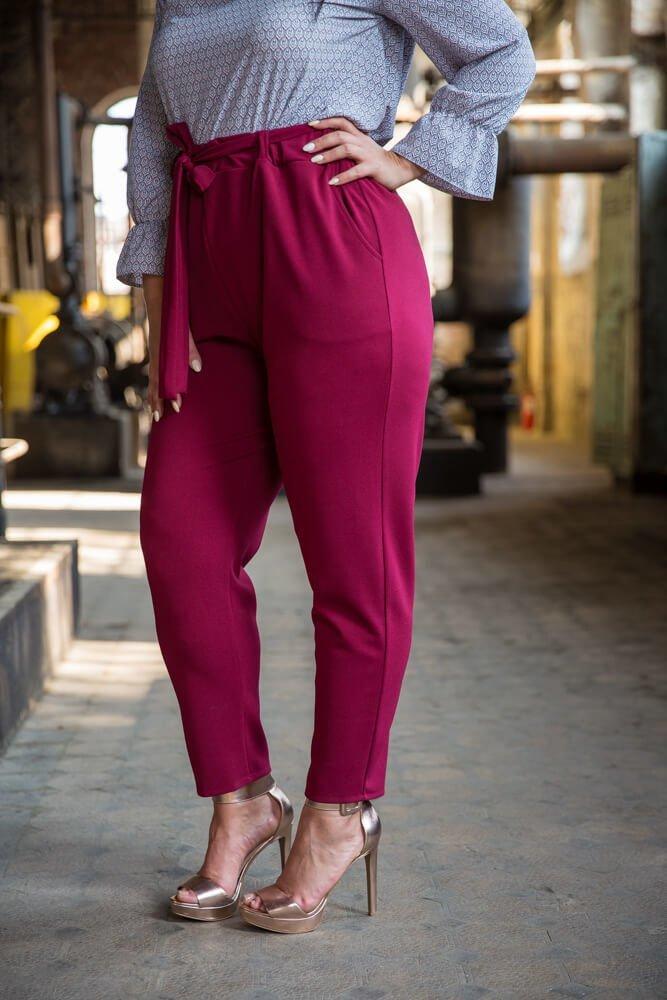 Bordowe Spodnie damskie SONFY Plus Size