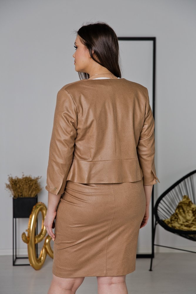Camelowa Spódnica BIRA Plus Size