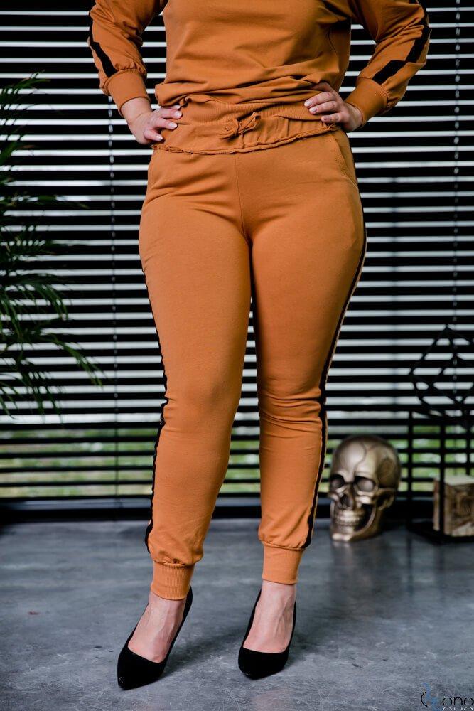 Camelowe Spodnie REGGIE Plus Size Ściągacz