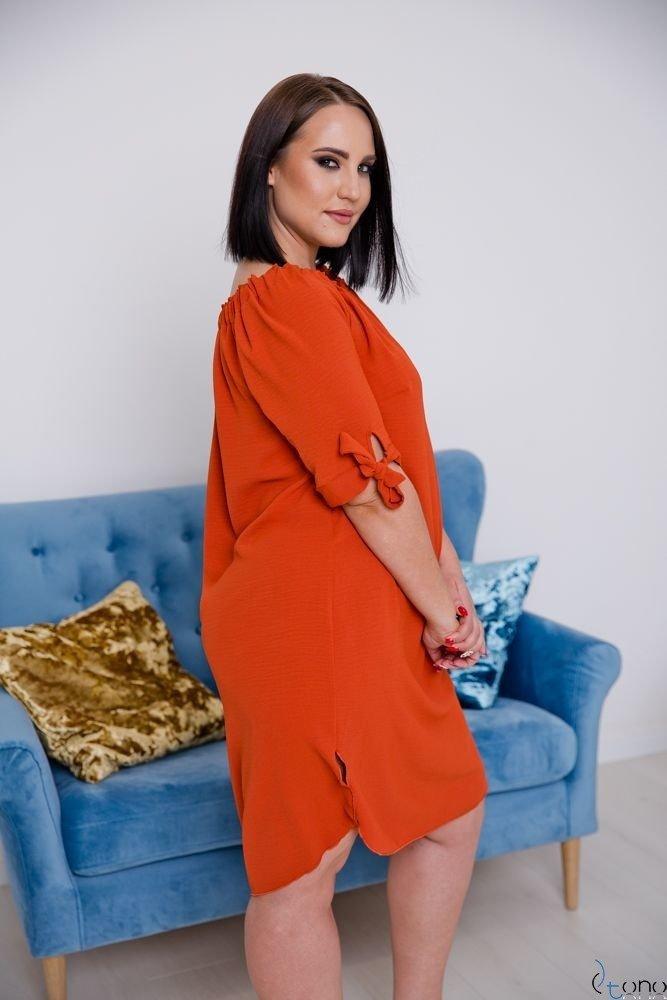 Ceglana Sukienka VALENCIA Hiszpanka Plus Size