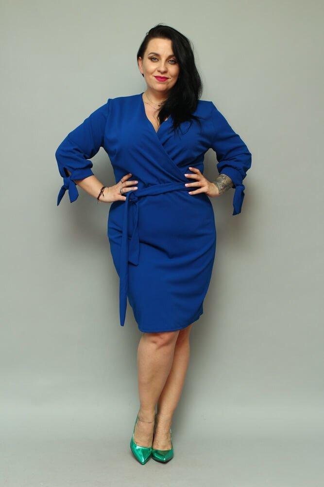 Chabrowa Sukienka CIARRA Kopertowa Plus Size