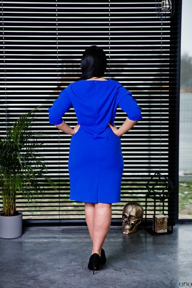 Chabrowa Sukienka TRILI Ołówkowa Plus Size