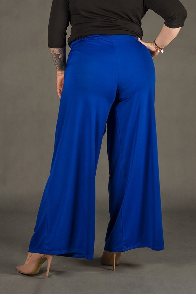 Chabrowe Spodnie damskie BACCIO Rozkloszowane Plus Size