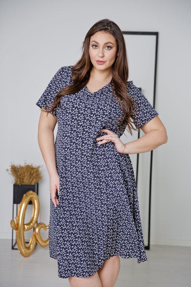 Ciemno-Granatowa Sukienka LILA Plus Size Wzór 8