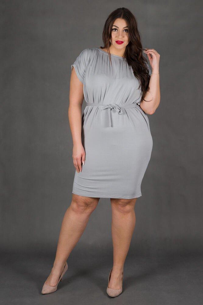 Ciemno Szara Sukienka SEMPRE Plus Size Drapowana