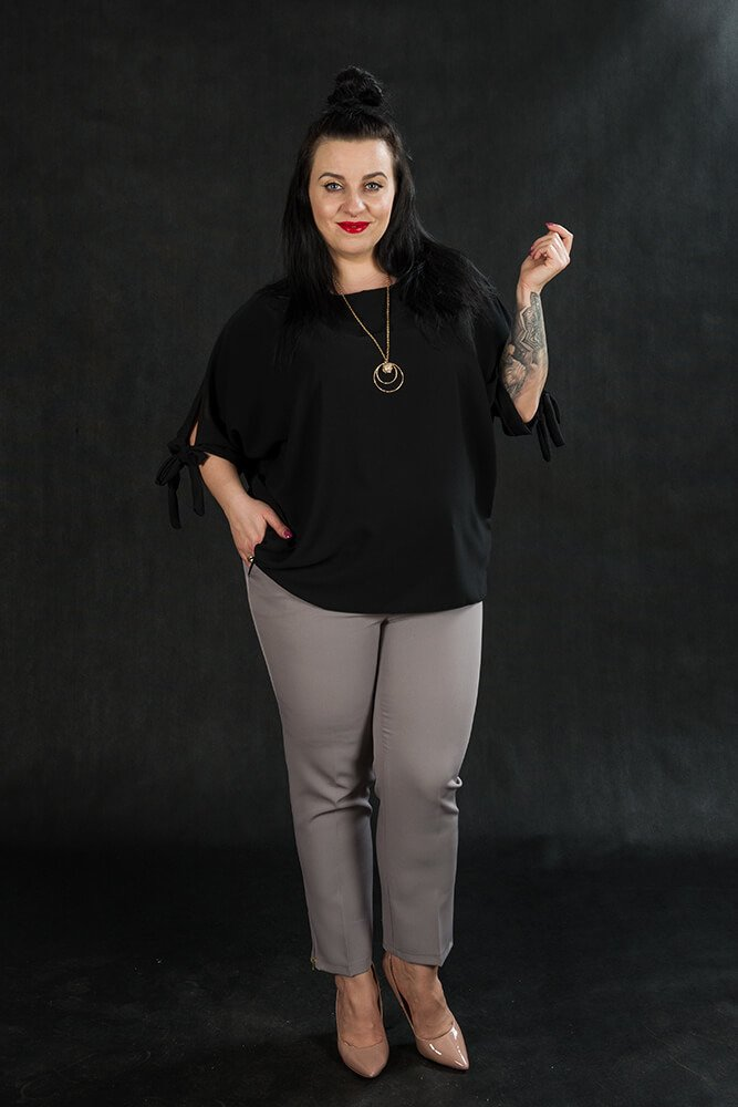Czarna BOW bluzka damska oversize plus size