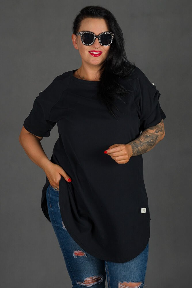 Czarna Bluzka GIANA Trapezowa Plus Size