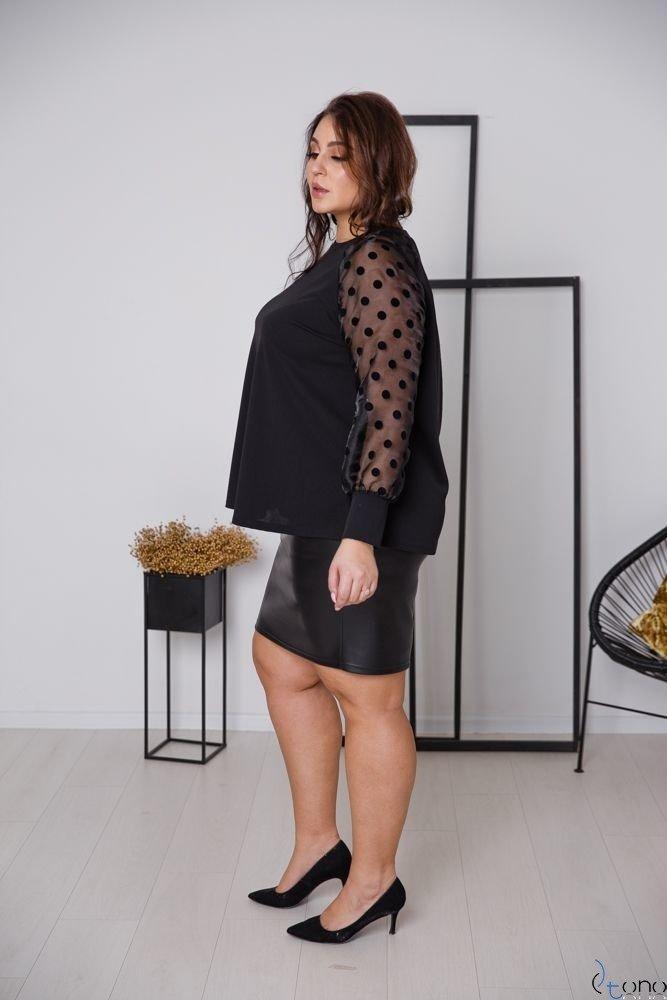 Czarna Bluzka RELIA Plus Size Grochy
