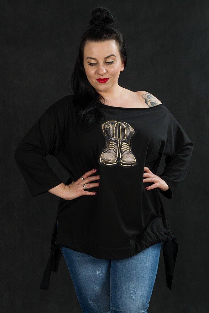 Czarna Bluzka ZAPOS Wiązana Plus Size