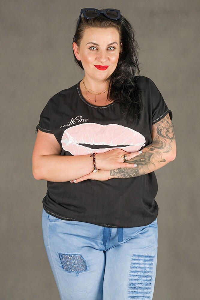Czarna Bluzka damska BOCCA T-shirt Plus Size