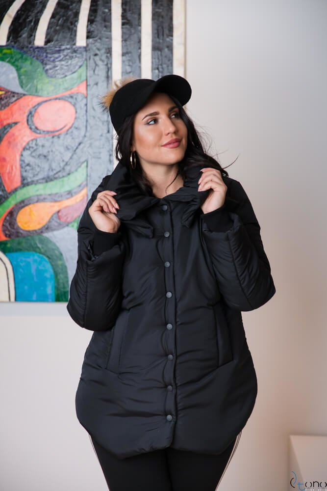 Czarna Kurtka TEKKA Zimowa Plus Size