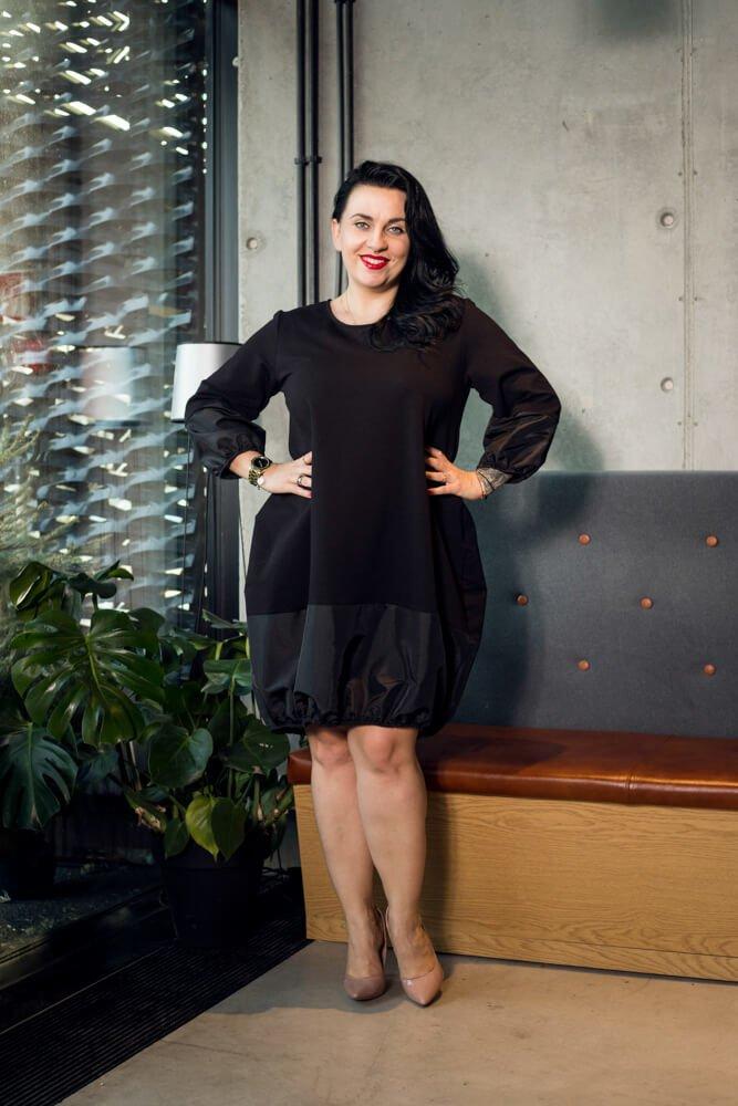 Czarna Sukienka BJORK Bombka Plus Size