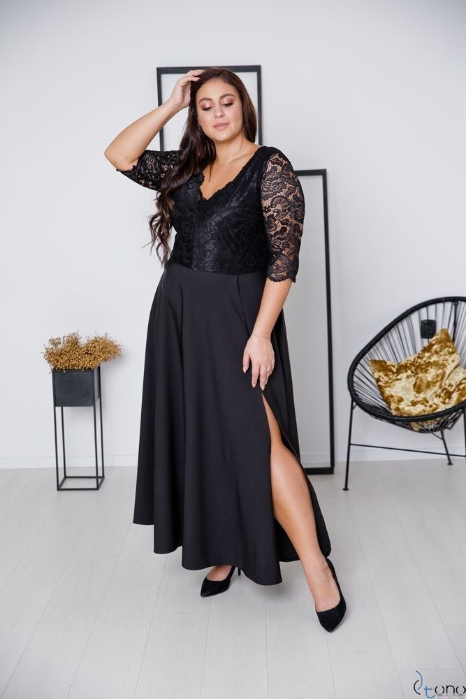 Czarna Sukienka ELIZ Plus Size