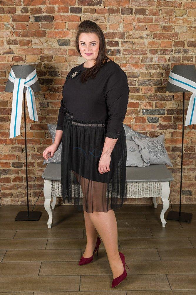 Czarna Sukienka FARRO Tiul Plus Size