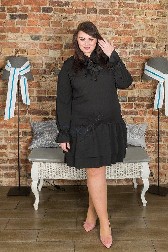 Czarna Sukienka LORIS żabot falbanki duże rozmiary