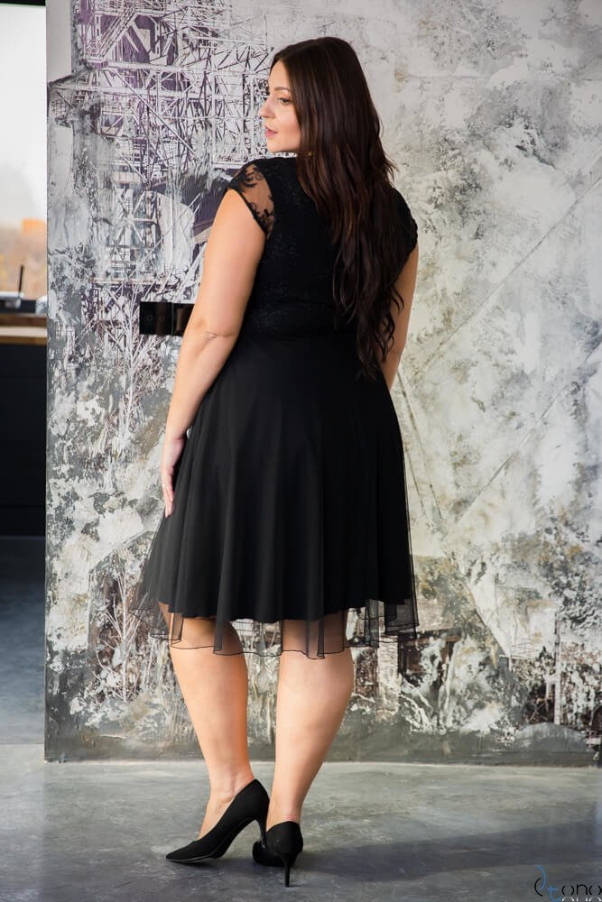 Czarna Sukienka STELLA Wizytowa Plus Size