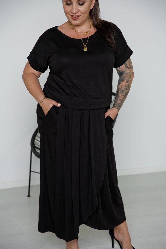 Czarna Sukienka TULIPA Plus Size