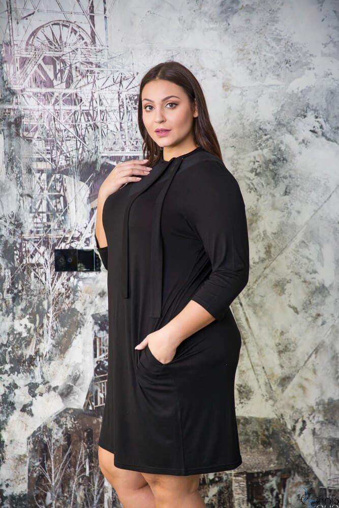 Czarna Sukienka XENTIA Plus Size