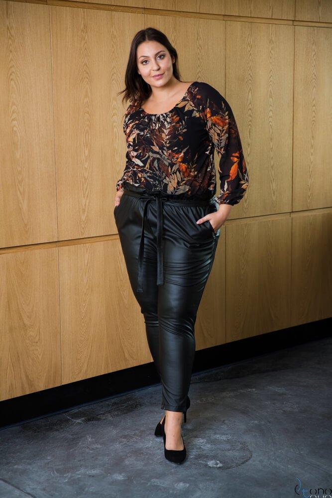Czarne Spodnie COLLIN  Plus Size Eko Skóra