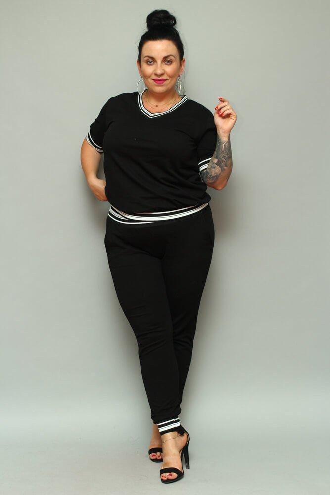 Czarne Spodnie NILDA Dresowe Plus Size