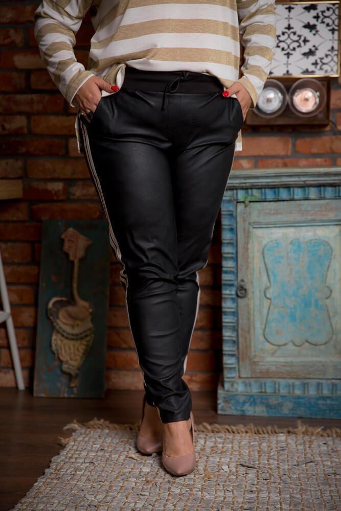 Czarne Spodnie PAGGIO Eko Skóra Plus Size