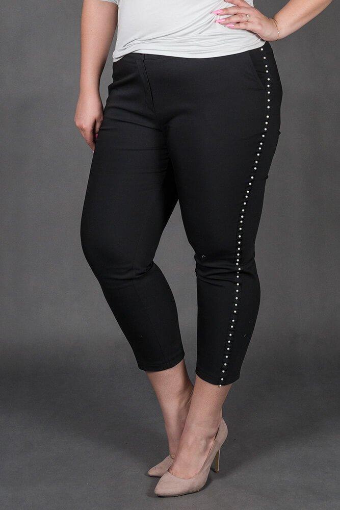 Czarne Spodnie SORIA Lampas Plus Size
