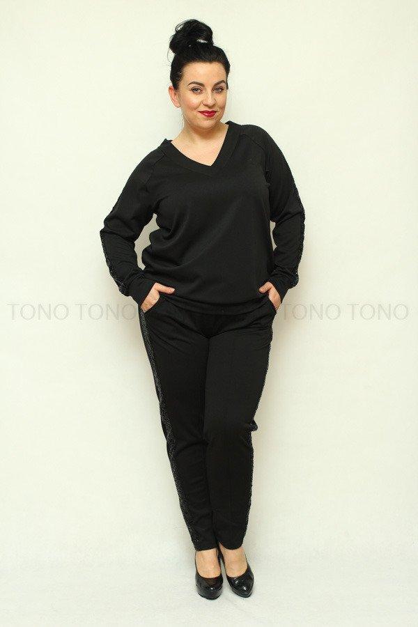 Czarne spodnie damskie dresowe NEVA2 z cekinowym lampasem plus size