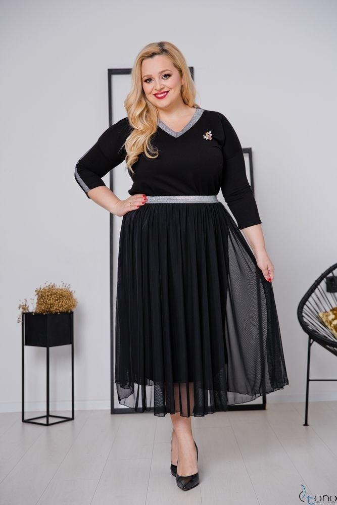 Czarno-Srebrna Spódnica GONNA Plus Size