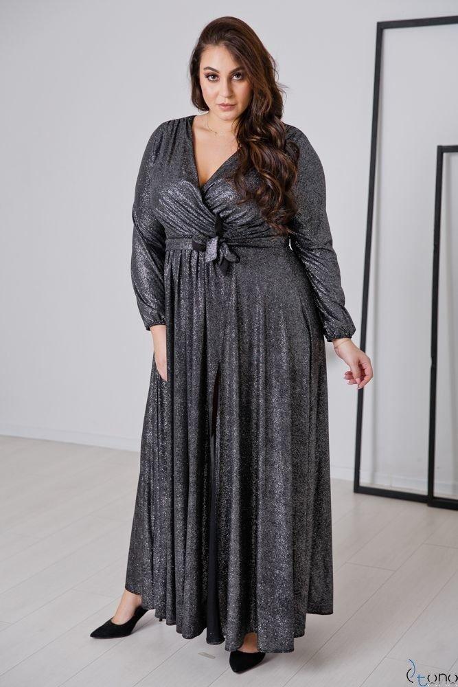 Czarno-Srebrna Sukienka SAVOY Plus Size
