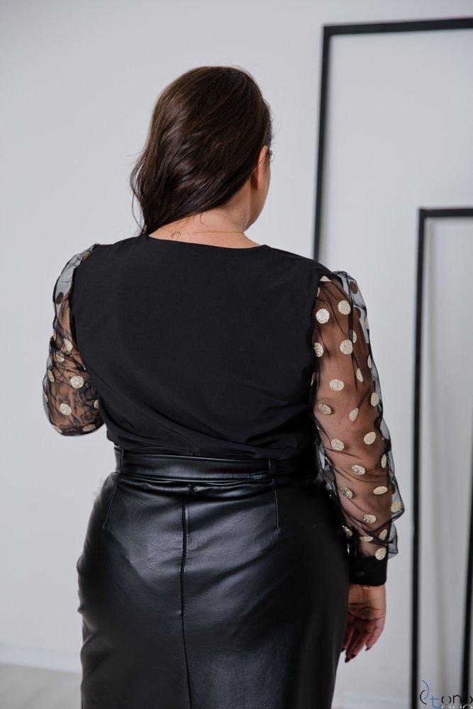 Czarno-Złota Bluzka MERALES Plus Size