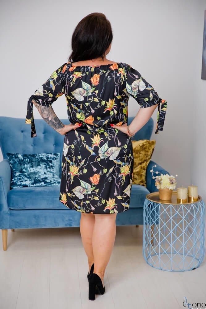 Czarno-pomarańczowa  Sukienka VALENCIA Hiszpanka Plus Size
