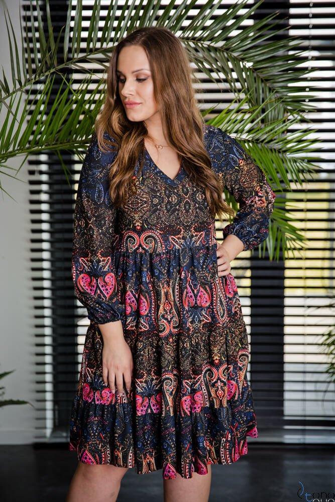 Czarno-różowa Sukienka TIFANY Plus Size