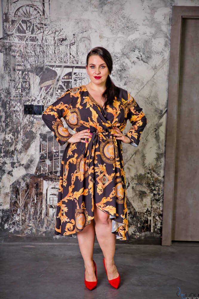 Czarno-złota Sukienka PALOMA Plus Szie
