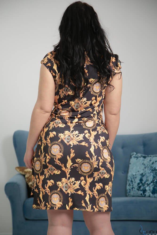 Czarno-złota Sukienka VENGA Plus Size
