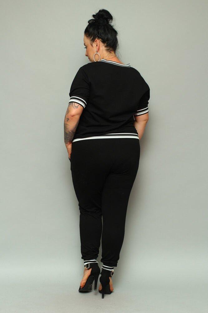 Czarny Komplet dresowy NILDA Plus Size