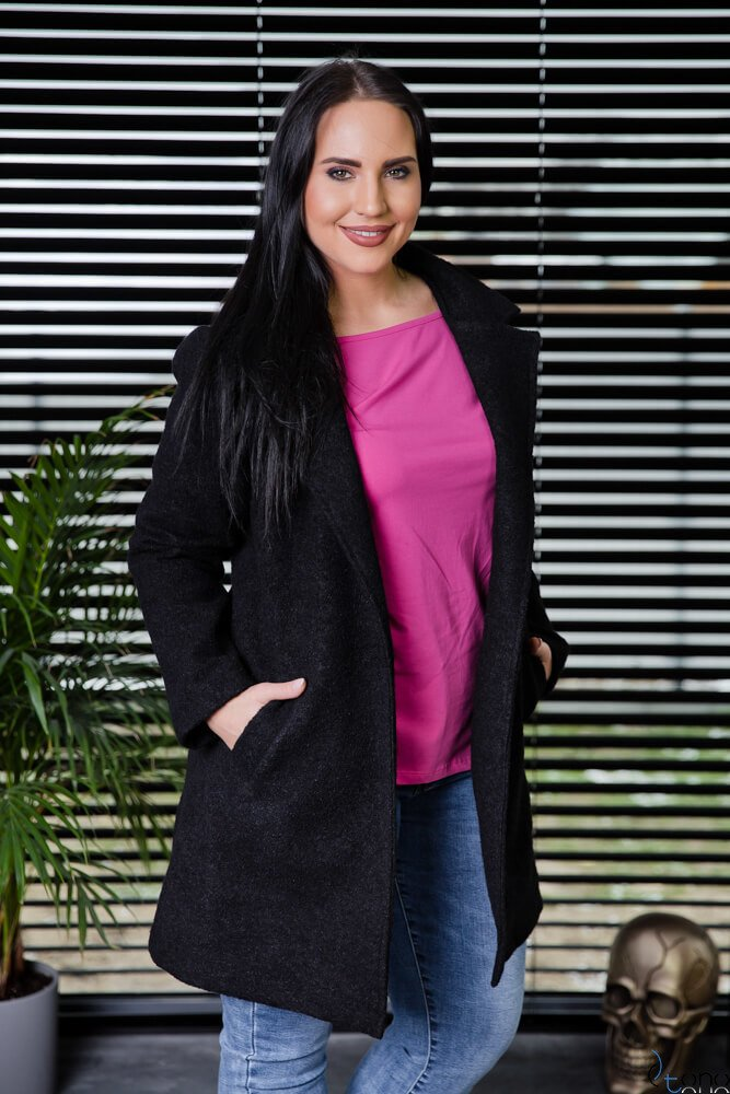 Czarny Płaszcz REBEL Plus Size