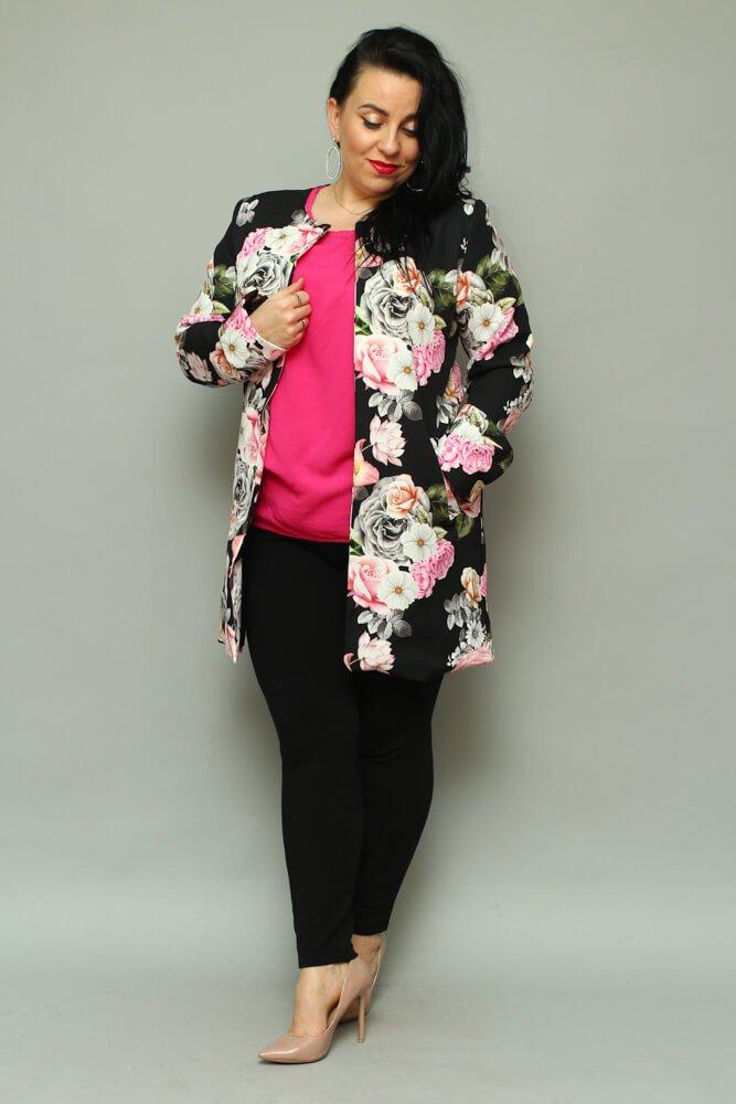 Czarny Płaszcz damski LUKKA Plus Size Kardigan