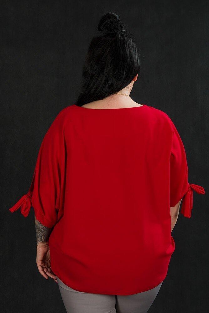 Czerwona BOW bluzka damska oversize plus size
