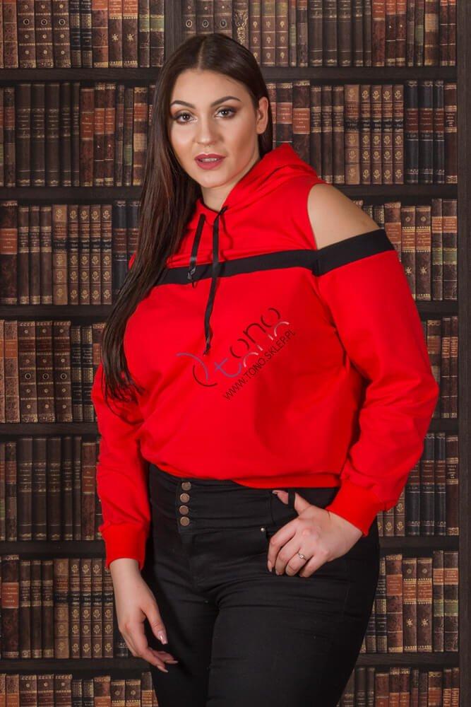 Czerwona Bluza damska AKILA Designerska Size Plus